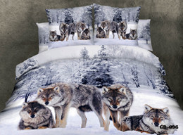 High Quality Stock 100% Cotton 3D 4 pcs Bedroom Bedding Sets Duvet Quilt Cover Flat Fitted Bed Sheet Pillowcase Wolf in the Snowfield