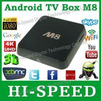 Wholesale Original M8 Amlogic S802 Quad Core Android kitkat OS Smart TV Box Dual Wifi G RAM G ROM Bluetooth XBMC Media Player