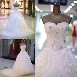 Significent No Straps Applique Lace Tulle Wedding Dress with Clear Rhinestones & Sequins Real Picture Lace Up Ball Gown Wedding Dress