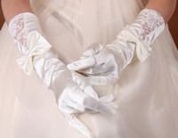 Wholesale Beautiful White Ivory Wedding Party Fingerless Bow Lace Opera Length Satin Formal Evening Bridal Gloves