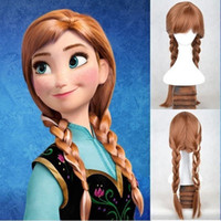 Wholesale 2014 NEW Princess Frozen Snow Queen Anna Weave Ponytail Cosplay Wigs