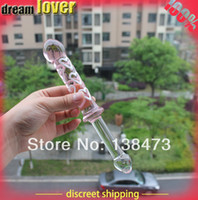 Wholesale Super long Large Pink love carving Glass crystal Dildos penis Anal plug Sex toys for women Female masturbation Valentine s gift