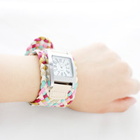 Wholesale Designer jewelry handmade hot sale colorful weaving workable watch bracelet for women