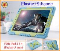 al por mayor iphone plástico de silicio-Pepkoo plástico + tiempo del silicón impermeable a prueba de golpes Resistencia de gota Caja de defensa extrema para iPad 2 3 4 iPhone iPad 5 iPad mini