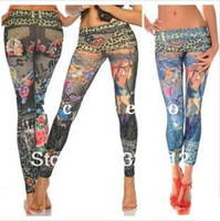 Wholesale Women Fashion Stretched Jeans Leggings autumn winter warm Slim Pencil Pants Leopard Cartoon girl Sexy Leggings RJ2983