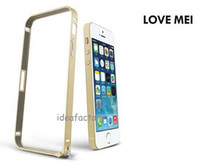 For Apple iPhone   DHL LOVE MEI 0.7mm thin Metal Bumper Cover Frame Case For Apple iPhone 5S Free Shipping