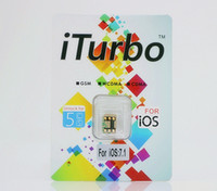 Wholesale iTurbo Thin card Unlock turbo sim card iPhone S C iOS iOS Work AT amp T T Mobile SB Sprint Iusacell telcel GSM G sim card
