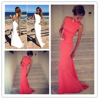 2014 prom dresses - The Best Selling Prom Dresses Mermaid Special Bateau High Neck Backless Evening Dresses Long Coral Dress Evening Dresses