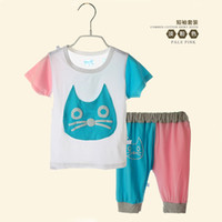 Wholesale 2014 summer children s clothing infant clothing for boys and girls T shirt bamboo fiber short sleeved suit pant