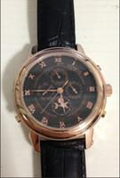 Fashion automatic tourbillon - 2014 new brand sky moon tourbillon automatic watch men s mechanical moon phase black leahter watch