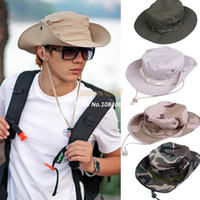Wholesale High Quality New Hats for Men Fishing Hiking Boonie Snap Brim Military Bucket Sun Hats Cap Woodland Camo New b7 SV003003