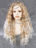 "Cheap 26"" Long #27HR 1001 Party Wig Gold Tip White Wavy Front Lace Wig Extra Natural Female wigs HAIR Heavy Density Heat Friendly Fiber long wig"