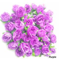 artificial xmas wreaths - 100pcs CM diameter Wreaths Artificial flower head High Simulation Silk Rose Purple Flowers Assorted Flower Heads Xmas Home Garden Decor