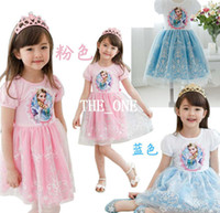 TuTu Summer A-Line pre-order frozen lace snow short sleeve frozen dress elsa frozen princess baby girl tutu dress pink blue cartoon elsa frozen dress hot sale