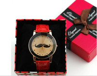 Wholesale Fashion Ladies watches Mustache watch British style watches Four colors and Personalized watches Quartz watch