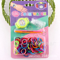 8-11 Years Multicolor Rubber 2014 Newest DIY Knitting Braided loom Watch Rainbow Kit Rubber Loom Bands Self-made Silicone Bracelet Free Shipping(Watch+Rubber+Clip+Hook)
