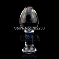 Wholesale Female large head transparent dildo crystal glass penis anal plug butt plug sex products for woamn
