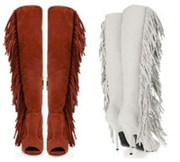 Half Boots Women PU 2013 New Arrival High Heel Fringe Knee Boots For