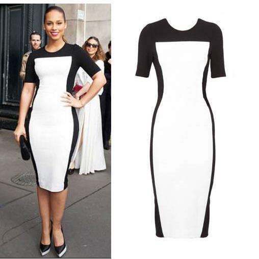 Fashion 2015 Celeb Women Lady Sexy Black White Stretch Bodycon ...