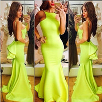 Crew blue green jade - Sexy Backless Mermaid Prom Dresses with Spaghetti Strap Jade Green Satin Sweep Train Mermaid Trumpet Pageant Dresses Formal Gowns Cheap