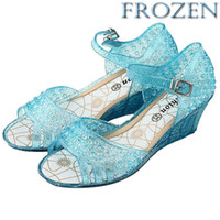 Wholesale 2014 Frozen Girl Elsa Princess Sandals Anime Cosplay Shoes Fashion Children s Shoes Wedge Cheap Hollow Crystal Shoes GZ GD021
