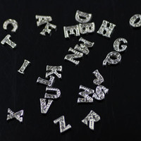 Wholesale 130pcs Each mm Metal Rhinestone Alphabet Letter Floating Charm For Glass Locket Origami Owl Floating Charm Jewelry Cheaper Price