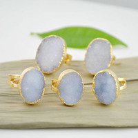 Wholesale 5pcs New Arrived Natural Drusy Quartz Druzy Finger Gem Stone Ring Gold Plated Adjustable Size