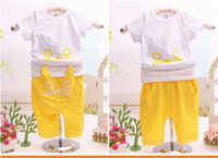 Unisex Summer Short 2014 children new cotton baby suit baby clothes cat T-shirt private children's wear in summer