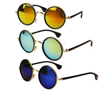 PC retro style sunglasses - S5Q Women s Men Unisex Vintage Retro Style Sunglasses Round Mirror Lens Glasses AAADKY