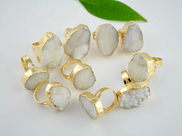 Wholesale 10pcs Druzy Drusy kt Gold Plated Edge Druzy Quartz Bezel Ring gold plated druzy Gemstone rings in clear color