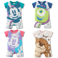 Wholesale summer short sleeved soft fabric baby romper jumpsuit cartoon baby clothes ps L16