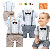 Wholesale 2014 New Gentleman Baby Clothes Jumpsuit Kids Clothes Bow Tie Short Sleeve Romper Gentleman Boys One Piece Suit Bowknot Overall Black