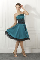 Reference Images knee length cocktail dress - 2014 Vintage In stock Taffeta Knee Length Cocktail dresses With Short Strapless Lace Sleeveless Party Graduation Homecoming Dress SD040