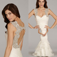New Arrival Scoop Neck Backless Crystals Mermaid Wedding Dre...