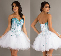 Reference Images Organza Sweetheart 2015 New Fashion Homecoming Dress White Blue Crystals Sweetheart Ball Gown Short Girls Prom Dresses Mini Corset Beads Cocktail Gown 2014
