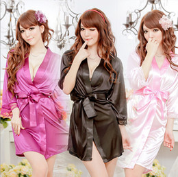 Wholesale Hot sale colors Sexy Lingerie Satin Sleepwear Silk Detail Robe and G String Sexy Sleepwear Nightdress