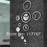 Wholesale 1PCS D Best Home Decoration Clock Mirror Wall Clock Wall Stickers Wallpaper DIY Clock Unique Gift