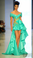 Wholesale 2014 Homecoming Dresses A Line Off Shoulder seafoam Chiffon Gold Appliques Tiers Ruffles Hi Lo Prom Gowns Backless