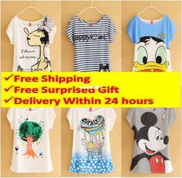Descuento tipos de pantalones cortos para las mujeres 2014 Nueva Mickey Mouse T-Shirt Mujeres camisetas Mujeres tipo camisetas de manga corta Envío Gratis camisetas impresas