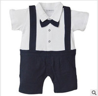 Unisex Summer Baby Baby Romper, Gentleman Design,Bow Tie, infant Short sleeve climb clothes,Summer kids clothes,Suspenders ,FreeShipping