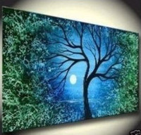 More Panel Oil Painting Abstract modern Fashion wall decoration art oil painting on canvas single panels moon tree decoration no framed
