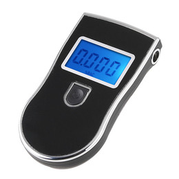 Wholesale Professional Police Digital Breath Alcohol Monitor Tester Breathalyser Black Blacklight Blue Health Beauty H1912