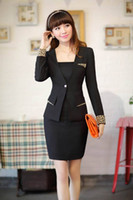 Cheap Women long sleeve suit Best Skirt Suit V-Neck tailored suit