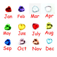 plastic charms - 120pcs Color Mix mm Heart Birthstone Floating Charm For Glass Locket Origami Owl Charm Living Memory Plastic Crystal