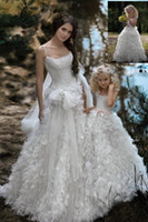 Wholesale 2015 Cheap Price Fashion Flower Girls Dresses Floor Length Feather Spaghetti Ball Gowns Custom Made Sleeveless White Pageant Kids Dresses