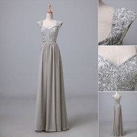 Wholesale SD088 In Stock US Size New Sweet heart Gown Bridesmaid Dress Formal Evening Dresses Lace UP Lace And Chiffon Connected Silver