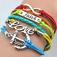 Wholesale Fashion retro faith love bracelets for women Anchor Infinity bracelets bangles cord Leather bracelet