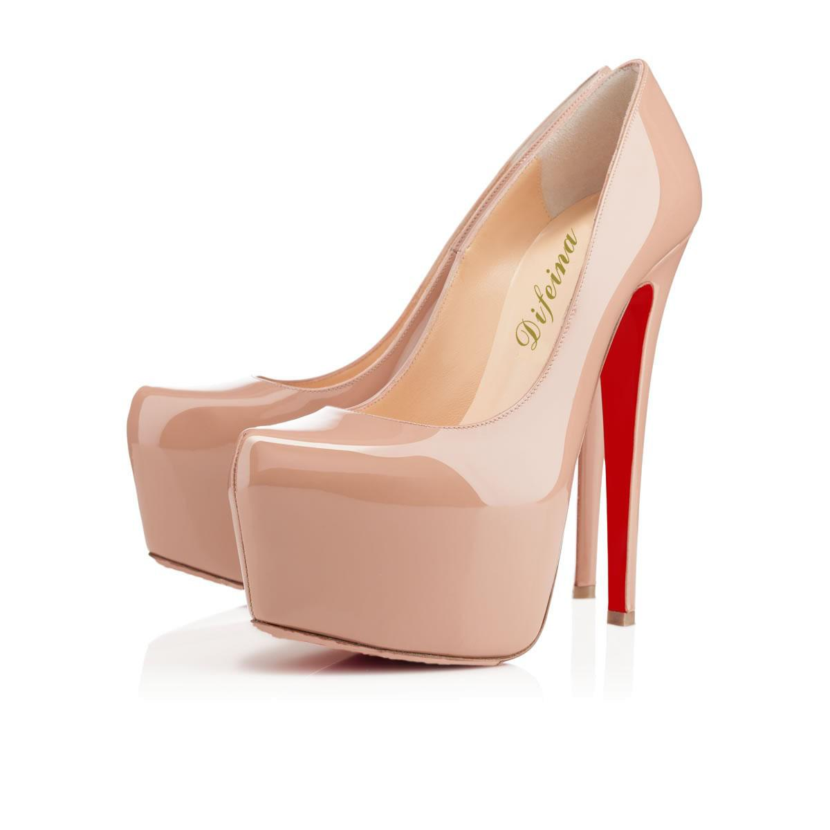 New Arrival Womens Nude High Heel Shoes Leather High Heels