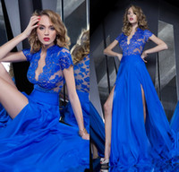 Reference Images V-Neck Chiffon 2014 Gorgeous Evening Gowns Plunging V-neck Thigh-High Split Short Sleeves Lace Sheer Corset Royal Blue Chiffon Sexy Prom Dresses DL1312353