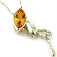 Pendant Necklaces South American Women's Feelcolor Wholesale Cheap 2ct Natural Fine Jewelry Citrine Necklaces Pendant 925 Silver Free Shipping